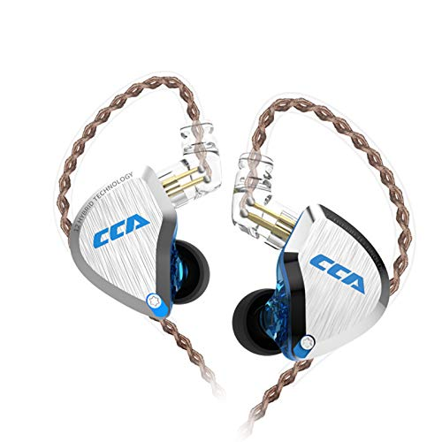 CCA C12 in-Ear Monitors, 5BA+1DD Hybrid HiFi Stereo Noise Isolating IEM Wired Earphones/Earbuds/Headphones with Detachable Tangle-Free Cable CPin for Musician Audiophile (Without MIC, Blue)