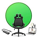 Tragbarer Faltbarer Green Screen Hintergrund Fotografie Kulissen 4.65FT mit Ringlicht und USB-Hub für Stuhl Zoom Gaming Foto Video