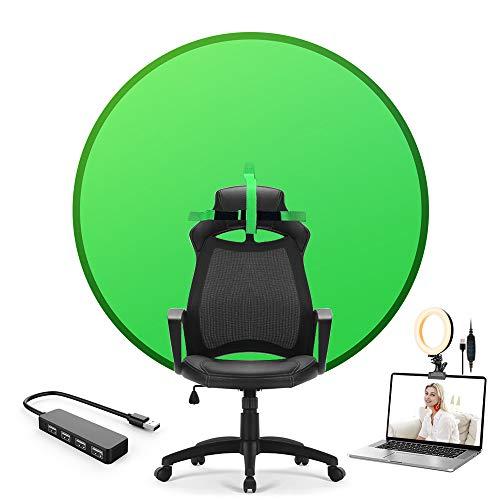 Fondale pieghevole portatile Green Screen 4,65 FT con luce ad anello e hub USB per sedia zoom, videogiochi foto video
