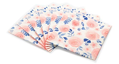 Watercolor Flower Print Cocktail Napkins Set | Decorative & Disposable Paper Napkins for Weddings, Birthdays, Baby Showers, Holiday Events | Fun & Festive Floral Patterns Bursting with Vibrant Color
