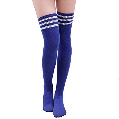 HugeStore Damen Frauen Lange Streifen Socken Overknee Strümpfe Kniestrumpfe Strumpfhose Socken Blau Weiss