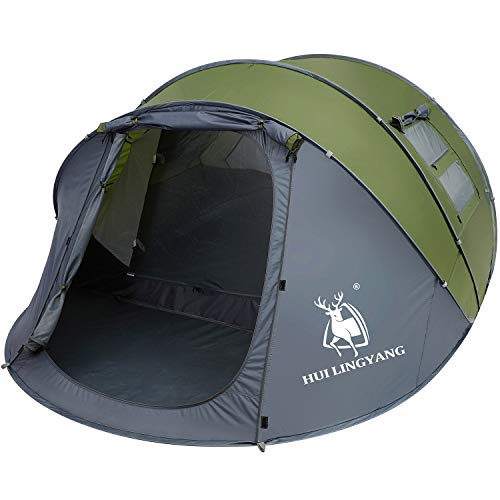 HUI LINGYANG 6 Person Easy Pop Up Tent-Automatic Setup,Waterproof, Double Layer - Instant Family Tents for Camping,Hiking & Traveling,Green