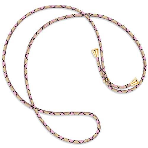 mtb more energy® Vervangend snoer voor hoesjes met koord - Ruit Argyle Roze - inclusief eindkappen (goud) - hoge kwaliteit - Ketting Band