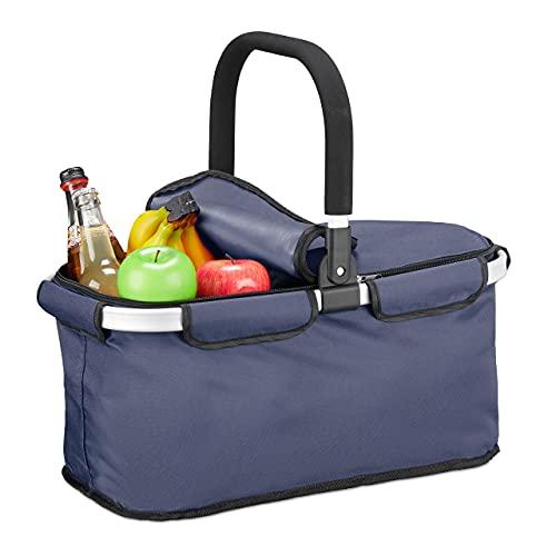 Relaxdays Einkaufskorb faltbar, mit Deckel, Tragekorb mit Henkel, 25 L, Polyester, Faltkorb mit Reißverschluss, blau