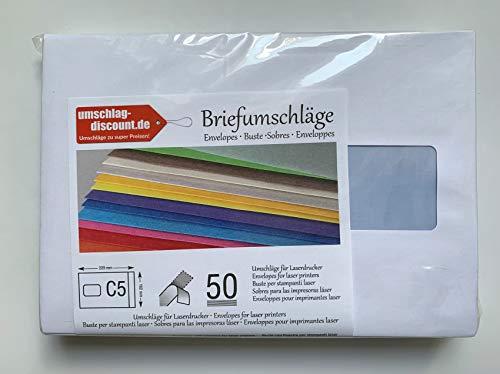 50 Versandtaschen mit Fenster, C5 = 229 x 162 mm, mit Laser bedruckbar, hitzefestes Folienfenster, Geschäftsumschläge, mit Abziehstreifen, Markenqualität: Soporset von IGEPA