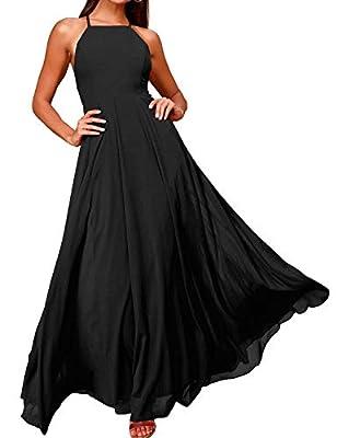 FANCYINN Women's Long Formal Dresses Evening Wedding Bridesmaid Dress Black S