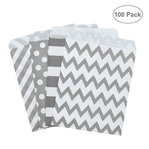 Erlliyeu Candy Bar Tüten, 100 Stück im Set, Candy Tüten, Süssigkeiten Beutel, BonBon Taschen, 13 x 5,5 x 18 cm Packung mit 100, 4 süße Designs. (B)