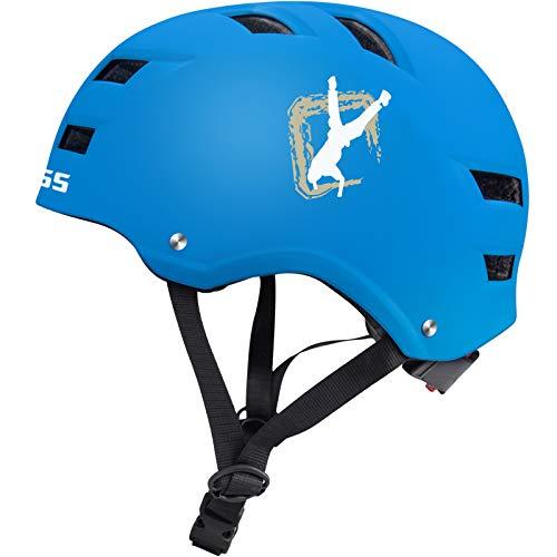Skate Helmet,Skaterhelm Bike Helmet Radhelm Kinderhelm Sporthelm CE-Zertifizierung Schützer für Fahrrad Rollschuh Skateboard Longboard (Blau, Groß)