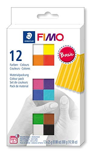 STAEDTLER FIMO Soft Polymer Clay - Oven Bake Clay for Jewelry, Sculpting, Crafting, 12 Assorted Colors, 8023 C12-1
