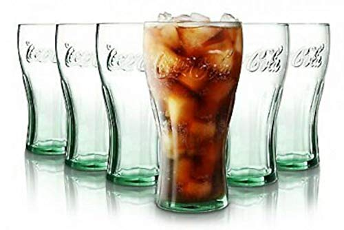 Juego de 6 vasos de Coca Cola, Original, con la marca en relieve 0.4