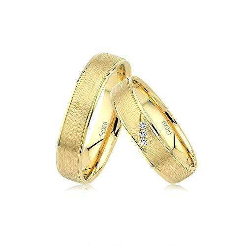 GIORO Verona Eheringe Trauringe Hochzeitsringe massiv Gold *handgefasste Brillanten* Paarpreis Echtes Gold (18 Karat (750) Gelbgold)