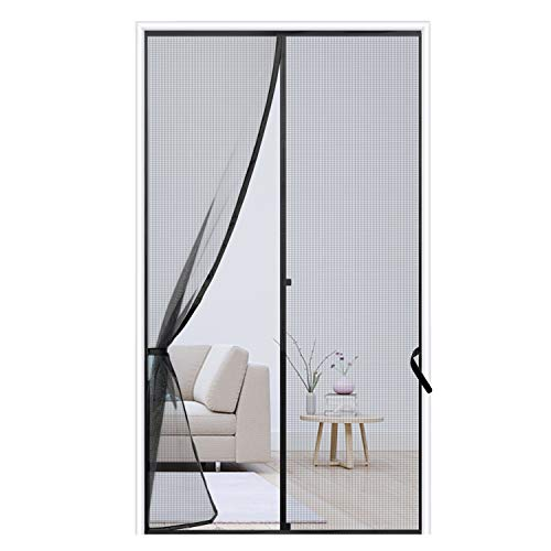 Sunolga Magnetic Screen Door 32'x80', Reinforced Fiberglass Mesh Curtain with Full Frame Hook & Loop, Hands Free - Fits Doors up to 32'x80'