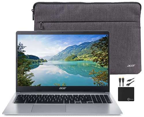 "2021 Premium Acer Chromebook 15.6"" HD Laptop Light Computer, Intel Celeron N4000, 4GB RAM, 32GB eMMC, HD Webcam, Intel UHD Graphics 600, 12+ hours Battey, Sleeve, Bluetooth, Chrome OS,w/Marxsol Cables"
