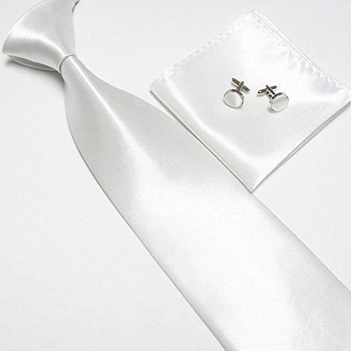 Cravate + Pochette + Bouton de Manchettes Satinée - Blanc - Neuf