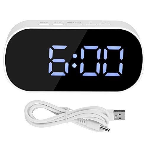 Spiegel Wecker, multifunktionale LED Wecker Desktop Spiegel Oberfläche Digitaluhr für Zuhause Schlafzimmer Büro(Weiß)