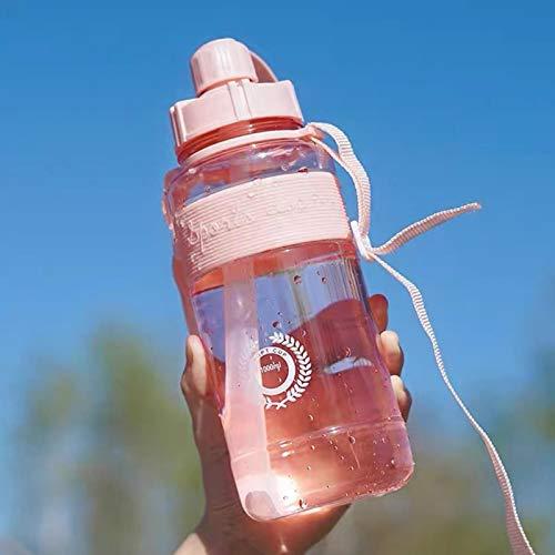 Anwangda Botella de agua portátil de viaje con paja Fitness, botella deportiva con pajita, botella de agua portátil motivacional adecuada para deportes diarios, al aire libre (rosa, tamaño: 1500 ml)