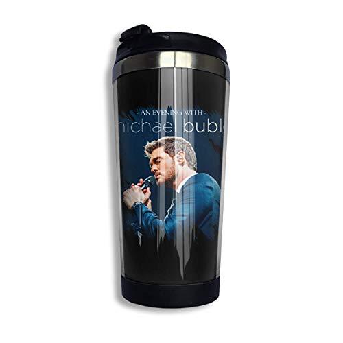 vfrtg Michael Buble Taza de café con aislamiento de acero inoxidable, a prueba de derrames La taza de café con aislamiento con tapa se mantiene caliente o fría (400 ml)