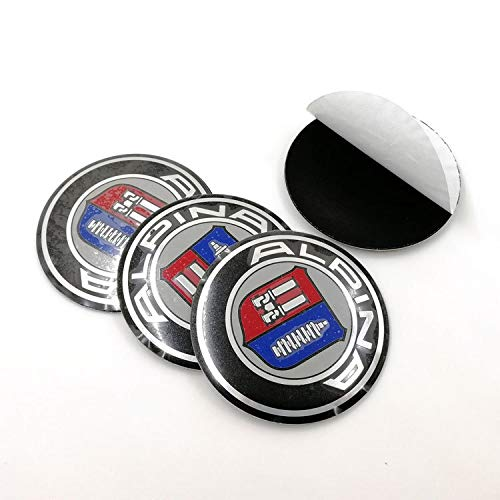 Appiu Modifizierte Standardauto Radmitte Radkappe 56.5mm dekorative Aufkleber angebracht 4Pack (Color : Alpina 56.5MM)