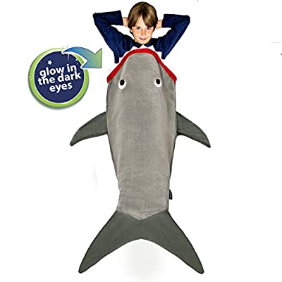 Blankie Tails | Shark Blanket, New Shark Tail Double Sided Super Soft and Cozy Minky Fleece Blanket, Machine Washable Wearable Blanket (56'' H x 27'' (Kids Ages 5-12), Glow in The Dark - Gray) by Blankie Tails