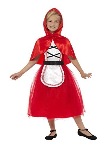 Smiffys-22496S Disfraz Deluxe de Caperucita Roja, con Vestido y Capucha, Color Rojo, S - Edad 4-6 años (Smiffy'S 22496S)
