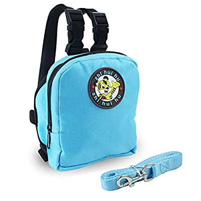 Guardians Pet Backpack Small Dog Self Mini Carrier Back Pack Pocket Saddle Bags Puppy Bag with Training Lead Leash (Blue)