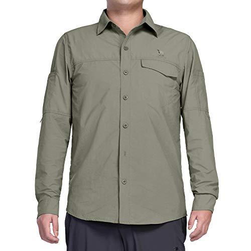 CAMEL CROWN Herren Langarmshirt Schnelltrocknend UV Schutz Atmungsaktiv Langarm Hemd Männer Outdoor Einfarbige Knöpfen Taschen Freizeithem (Neu Dunkelgrau, L)