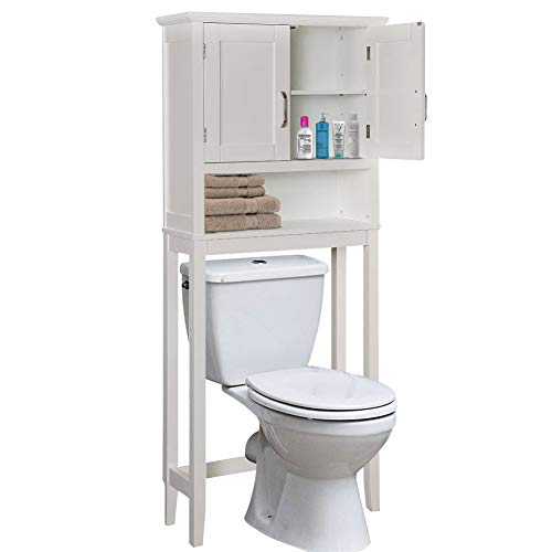 BAKAJI Mobile Bagno sopra Water WC Armadietto Salvaspazio Legno MDF 3 Ripiani 2 Ante Dimensione 155 x 66 x 25,4 cm (Bianco)