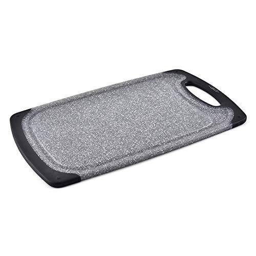 Vobajf Tabla de Cortar La imitación de mármol Tabla de Cortar Antideslizante-Cocina Tabla de Cortar de plástico Hangable Conjuntos Tabla de Cortar (Color : Black, Size : 24X40CM)
