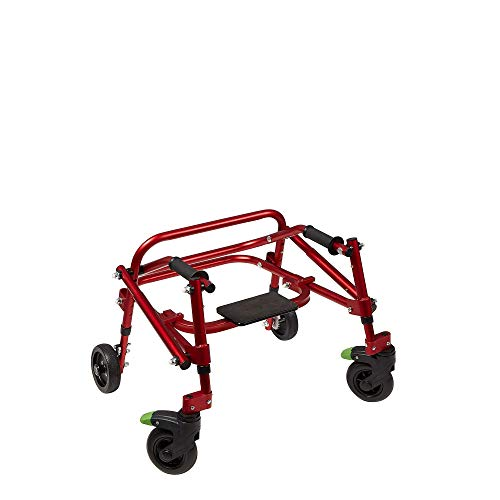 Klip- Lightweight Posterior Rollator Walker/Gait Trainer 4 Wheel - with Flip-Up Seat for Toddlers, Kids, Teens with Special Needs/Cerebral Palsy-Front Swivel Wheels, Height Adjustable, Foldable (XS)