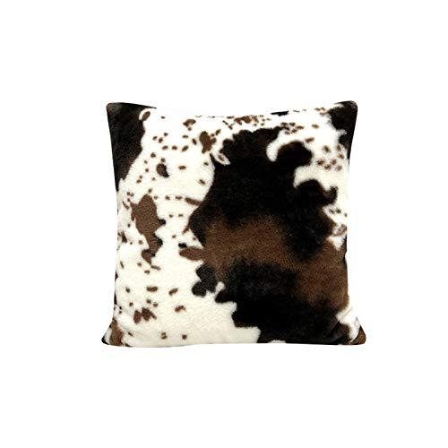 Lanmei Funda de cojín – Diseño de vaca para sofá, coche, cuadrado, dormitorio, funda de cojín de peluche suave
