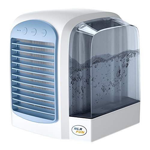 NLR Enfriador de aire personal con tanque de agua, ventilador portátil de mesa de refrigeración por agua | 3 velocidades | Fuente de alimentación USB | luz LED | respetuoso del medio ambiente (Azul)