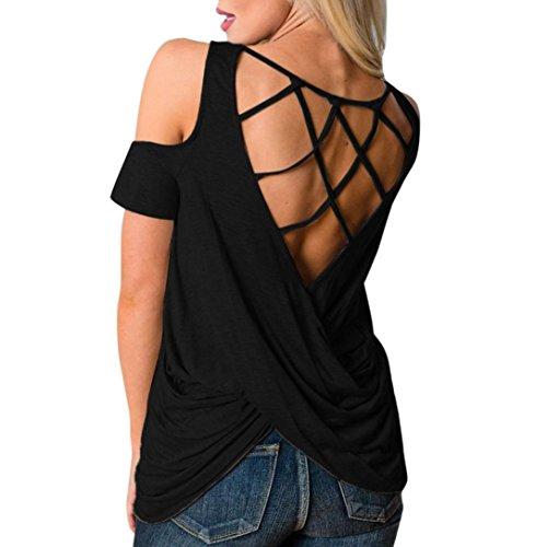 FAMILIZO Camisetas Sin Hombros Mujer, Camisetas Mujer Verano Blusa Mujer Elegante Camisetas Mujer Manga Corta Algodón Camiseta Mujer Camisetas Mujer Fiesta Camisetas Mujer Blancas (XL, Negro)