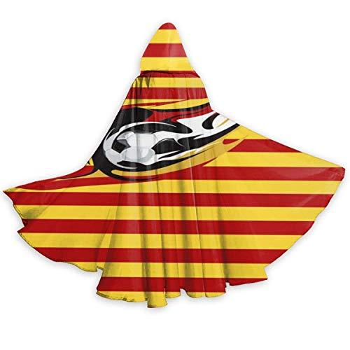Amanda Walter Baln de ftbol en la Bandera de Catalua Capa con Capucha Capa de Cosplay Premium Traje de sensaciones Colgantes Traje Capa Capa a Prueba de Viento Tnicas de Mago