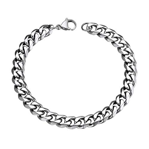 Bracelet for Women Men 3.5mm/6mm/9mm/12mm Width 1:1 Curb Chain Stainless Steel/Black Gun Plated/18K Gold Plated Hiphop Jewelry Hand Chain Bangle Bracelets(Length 21cm, Width 9mm,Silver Color)