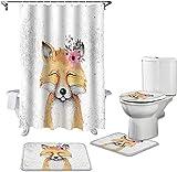 Lovely Fox Acuarela Flores Animales Baño Set Durable Impermeable Cortina de Ducha Alfombra Cubierta de la Tapa del Inodoro Accesorios de Baño Regalos Creativos