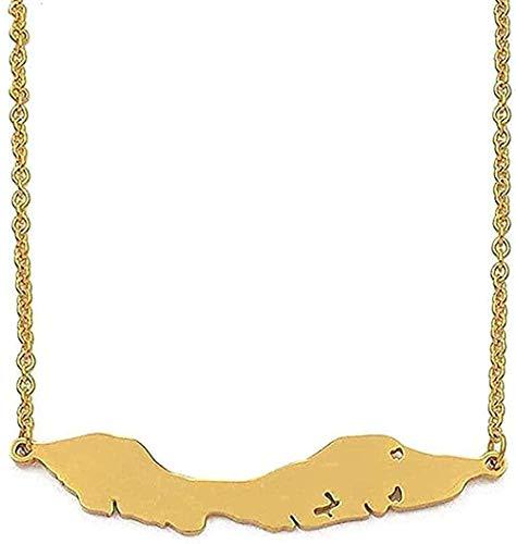 Collar Moda 5 Cm Tamaño Grande Islas De Curazao Mapa Collares Pendientes Acero Inoxidable/Color Dorado Tarjetas De Joyería Regalo Moda Collar Colgante Regalo para Hombres Mujeres Niñas Niños