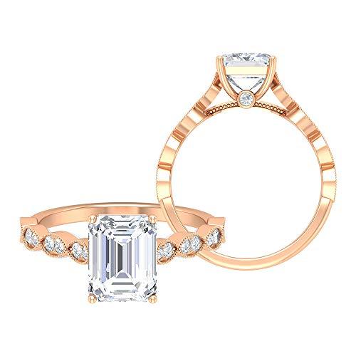 Anillo de compromiso vintage, D-VSSI 2.7 CT solitario, anillo de moissanita, 7 x 9 mm con forma de octágono, anillo de boda antiguo, anillo de novia Art Deco, 14K Oro rosa, Size:EU 63