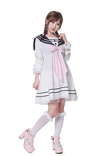 SHANSHAN Sailor Dress for Women Japanese School Girl Uniform Pink Lolita Dress Anime Costumes (S-3XL)