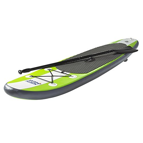 North Gear 8FT Inflatable SUP Stand up Paddle Board Package White/Lime Green