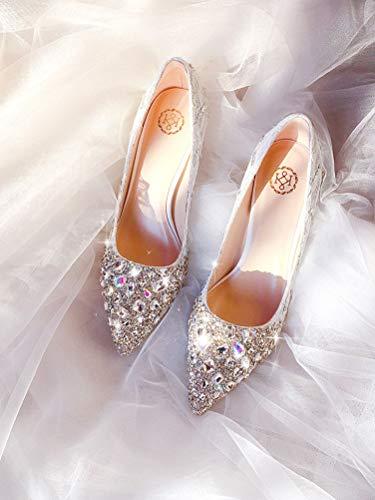 DEAR-JY Damen Brautschuhe,Elegante Luxus Funkelnde Strass Prinzessin Prinzessin Damen Pumps,Prom Club Business Abend Hochzeitsfeier Kleid Brautjungfer Schuhe,8cm,40EU