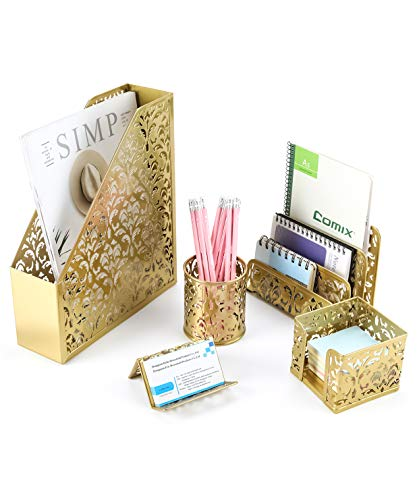 EasyPAG Desk Organizer Set 5-Piece Desk Accessories with Pencil Cup Holder, Letter Sorter, File Holder,Business Card Holder and Sticky Note Holder,Gold