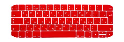 CCTor EURO Russian Keyboard Stickers for Macbook Pro 13 touch bar Silicone Keyboard Cover for Macbook Pro 15 2016 Skin Protector-Red