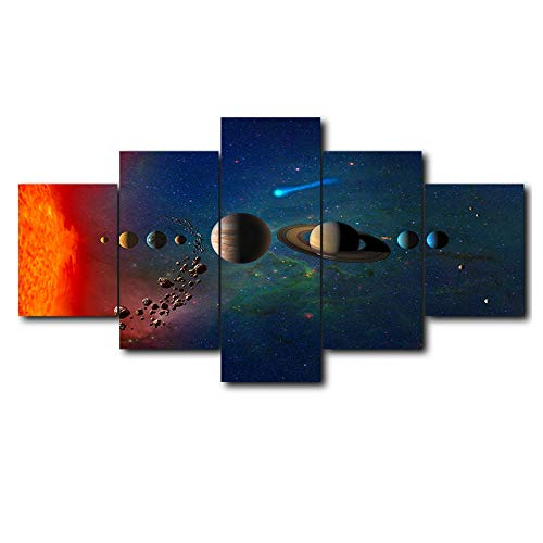 Abstract wall art modular picture 5 panels solar system frame canvas oil painting living room bedroom print