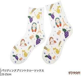 [ストリームマーケット] パリジェンヌプリントクルーソックス レディース 靴下 くるぶし丈 23-25cm