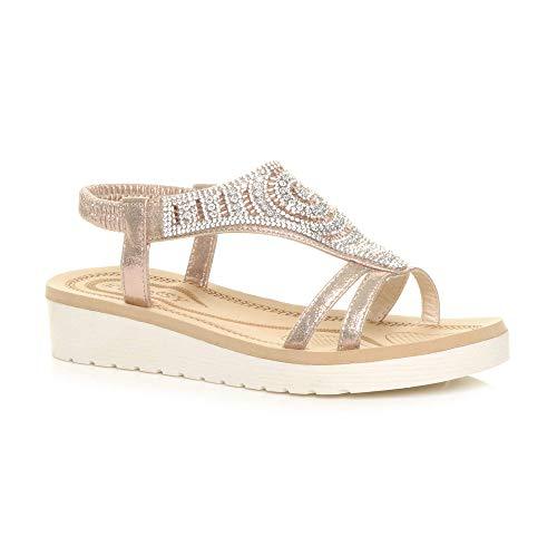 Ajvani Womens Ladies Low Wedge Heel Flatform Diamante t-bar Slingback...