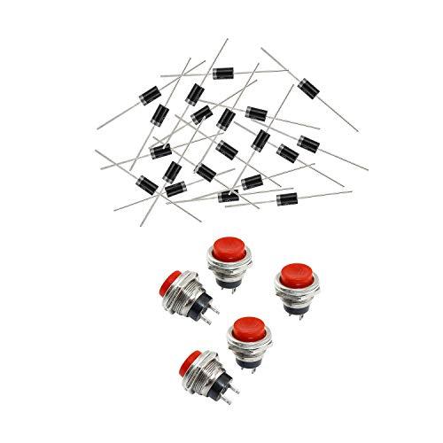Vrttlkkfe 5 piezas SPDT pulsador momentáneo rojo 3A 125V 1.5A 20VAC y 20pcs 1000V diodo rectificador 1N5408 IN5408 DO201AD 3A