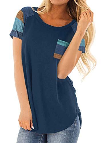 DanceWhale Damen T Shirt Rundhals Farbblock Kurzarm Oberteile Bluse Hemd Lose Sommer Tunika Top Marine XL