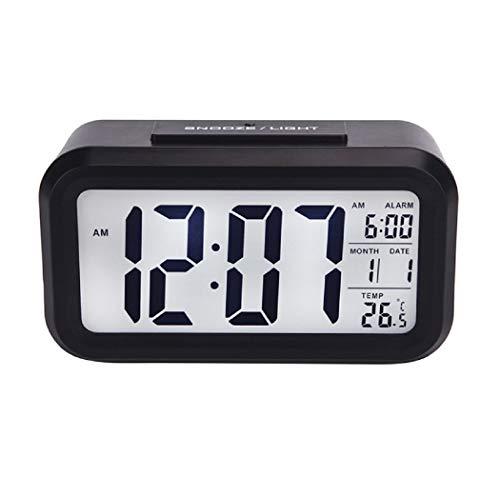 JUMA Smart Night Light Digital Alarm Clock with Indoor Temperature, Battery Operated Desk Small Clock (Black)