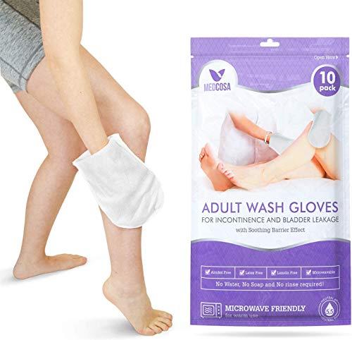 Medcosa Adult Washcloths para incontinencia - Toallitas corporales desechables únicas con forma de guante con crema protectora y dimeticona - 1 paquete (10 guantes)