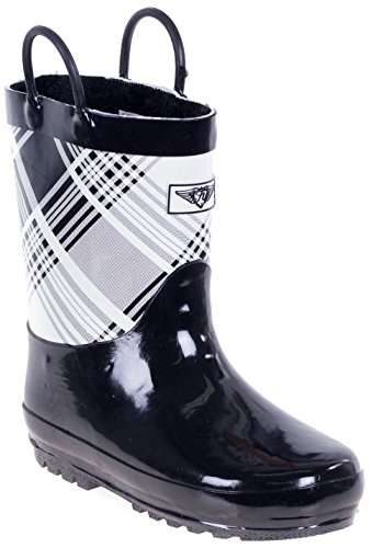 Forever Young Girls Rain Boots, Best Toddler Faux Fur Lined Rubber Boots, Black White Plaid Size 13
